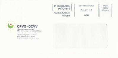 Francie, obálka podlouhlá, Port Payé, Paris 3.12.15 - CPVO-OCVV