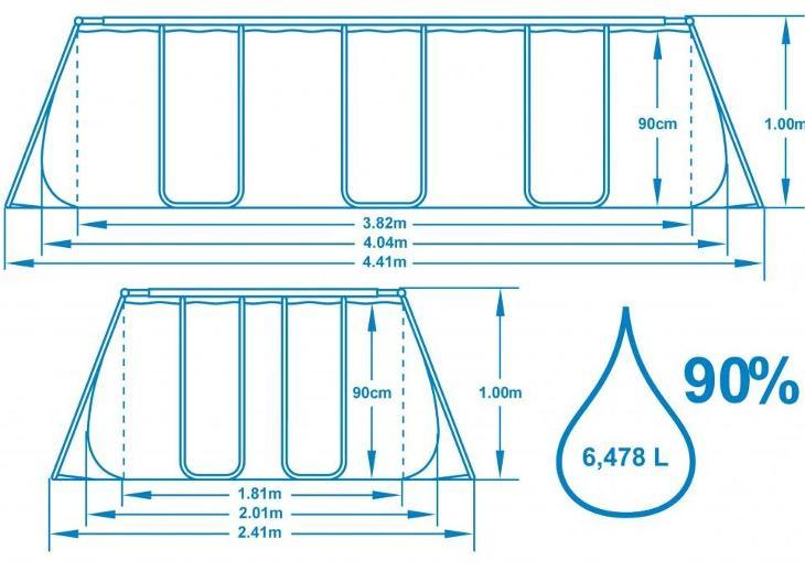 Bazén s konstrukcí 404 x 201 x 100 cm se schůdky a filtrací - Zahrada