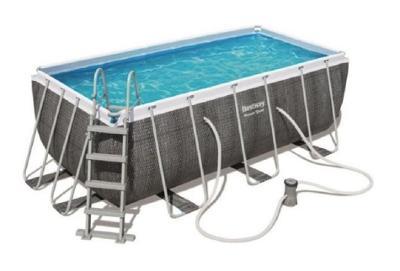 Bazén s konstrukcí 412x201 x122 cm se schůdky a filtrací černý rattan