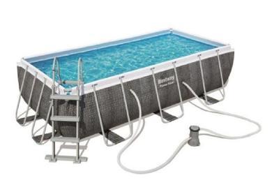 Bazén s konstrukcí 404 x 201 x 100 cm se schůdky a filtrací černý ratt