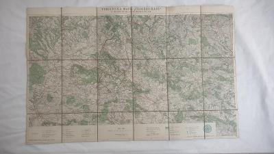 Stará mapa Rovensko-Turnov-Vrchlabí-Sudety r. cca 1930-Klub ČS turistů
