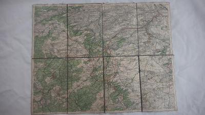 Stará mapa Kladensko-Lidice-Křivoklát r. cca 1930-Klub ČS turistů