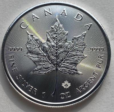 100 kusů 5$ MAPLE LEAF 2021 Kanada, 1 Oz stříbrná mince v tubě,  UNC