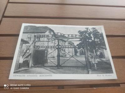 Stará Pohlednice Arbeit Macht Frei / foto St. Mucha / pracovní tábor