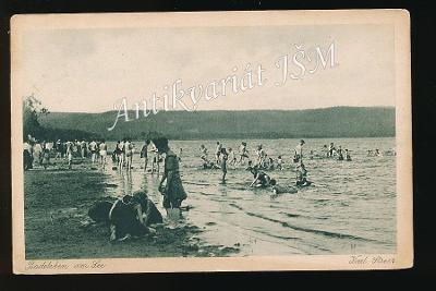 Česká Lípa H4272 Doksy Staré Splavy Jezero Koupání živý záběr r. 1921