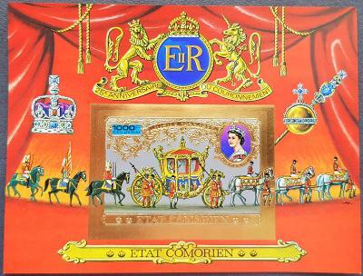 Comory 1977, Královská rodina , aršík gold provedení, kat.cena 30 Euro
