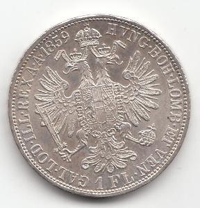 """Fr.J.I.,1 zlatník 1859 A, """"R"""" - lepší ročník, mimoriadna zachovalo UNC"""