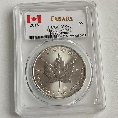 Stříbrná investiční mince Maple Leaf 1 Oz 2018 PCGS-MS69 First Strike