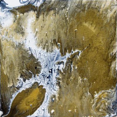Abstraktní obraz Zlatý dotyk, akryl na plátně 20x20 cm, originál