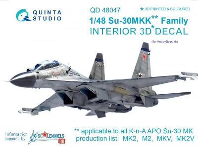 QUINTA STUDIO QD48047 3D Obtisky letadla Su-30MKK interier / 1:48