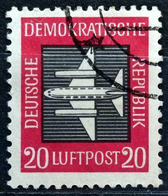 DDR: MiNr.610 Stylized Plane 20pf, Airpost 1957