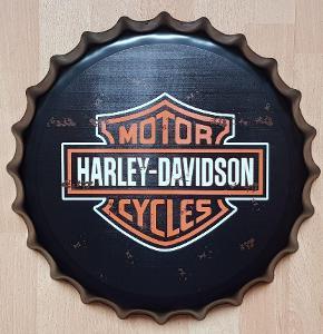 Velká plechová cedule ve tvaru pivní zátky HARLEY MOTOR