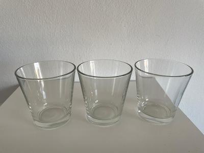 3ks malé minimalistické jednoduché skleničky sklenice cca 3x120ml