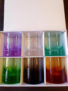 Moser sklo,,,6x nové whiskey skleničky barevné!!!sleva!!!