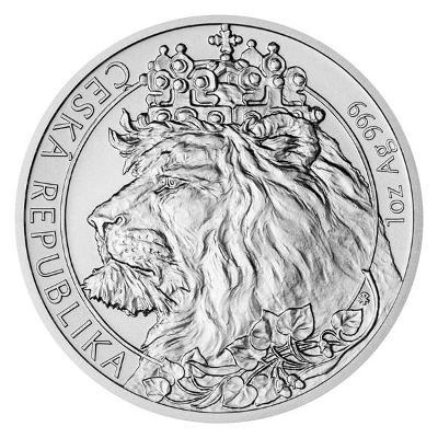 Stříbrná uncová investiční mince Český lev 2021 stand
