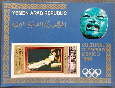Jemen 1969 YAR Olympijské hry Mexico68, galerie Prado,  kat. 22 Euro!