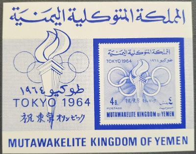 Jemen Kingdom 1964 Olympijské hry Tokio, 1ks aršík kat. 20Euro!