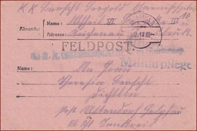 Feldpost Innsbruck * polní pošta, razítko, reg., skládaný dopis F02