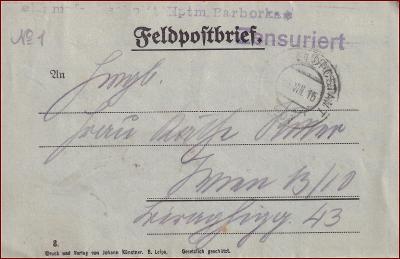 Feldpost nr. 207 * polní pošta, razítko, regiment, skládaný dopis F12