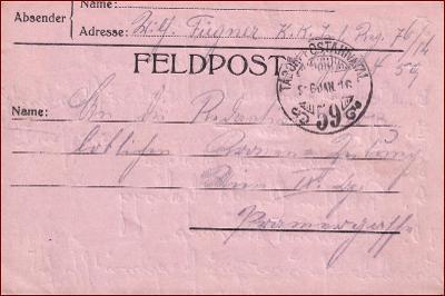 Feldpost nr. 59 * polní pošta, razítko, regiment, skládaný dopis F17