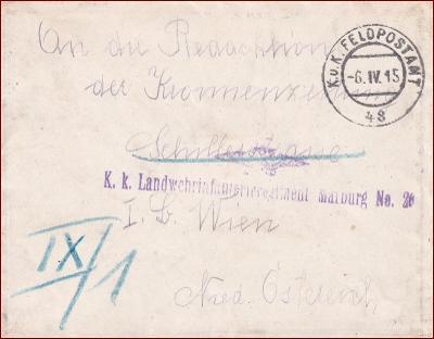 Feldpost nr. 48 * polní pošta, razítko, regiment, obálka F41