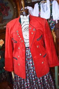 Červené kožené sako myslivecké vel. 42