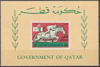 Qatar 1966 Olympijské hry 68, 1ks aršík přetisk, kat. 40 Euro!