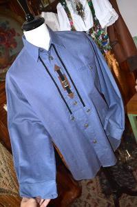 Modrá pánská košile len a bavlna vel. L/XL