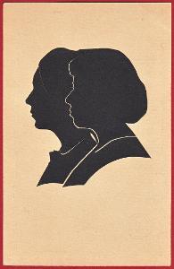 Stará pohlednice - SILUETA - ŽENY