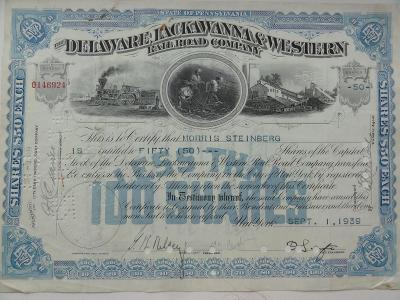 "Akcie ""Delaware, Lackawanna & Western Rail Road Company"" DEKORATIVNÍ"