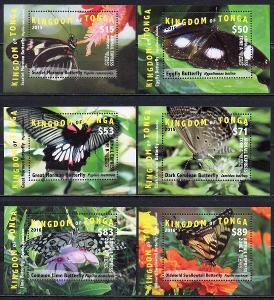 Tonga-Motýli EMS 2015/16**  Mi.Bl.89-94 / 390 €
