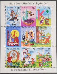 Tanzanie Disney dětské, tiskový list - 9ks známek