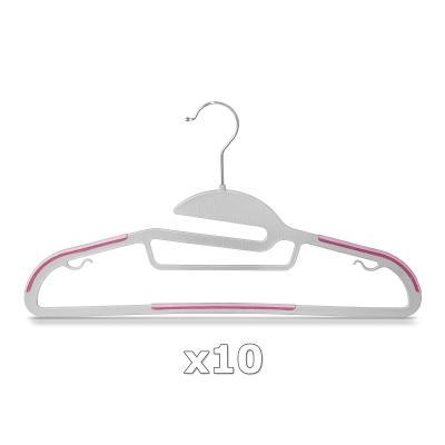 Plastové ramínko na oděvy růžové 10 ks 30326