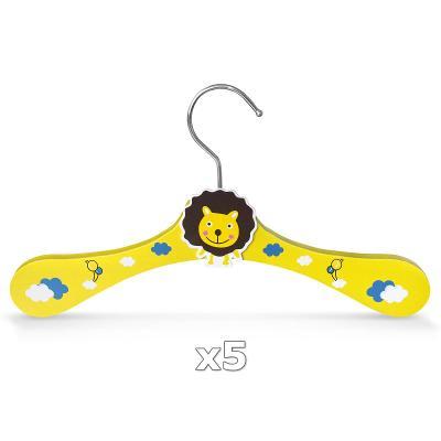 Dřevěné ramínko pro děti na oděvy lev 5 kusů 30344