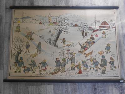 Josef Lada , starý školní obraz !!! 1940 .Dětské hry v zimě !!