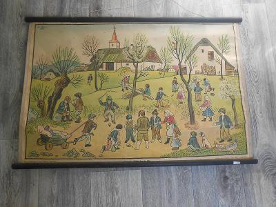 Josef Lada , starý školní obraz !!! 1940 .Dětské hry na jaře !!
