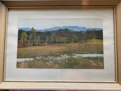 Krásná pozdně letní krajina s potokem - František Sadovský