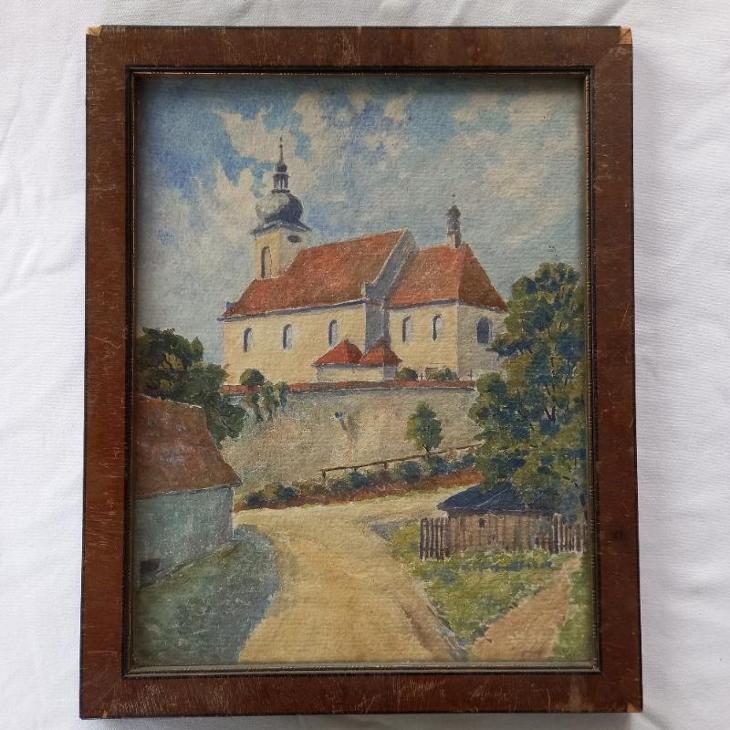 Písek .kostelik U Sv. Václava Akvarel - Umění