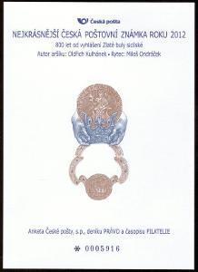 POF. AČP 19 - ANKETA NEJKRÁSNĚJŠÍ ZNÁMKA 2012 (S2599)