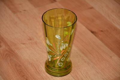 sklenka, malovaná, zelené sklo