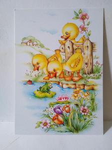 VF,dětské, káčátko, řeka, květiny, žába, jaro, velikonoce