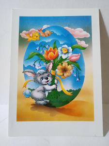 VF,dětské, jaro, velikonoce zajíček, květiny, ptáčci