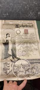 VELMI STARÝ VÝSTAVNÍ VYUČNÍ LIST - 1902 -1912 s Rakousko - Uh. kolkem