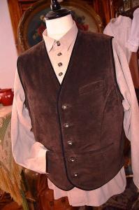 Dobová kožená vesta hnědá vel. L/XL