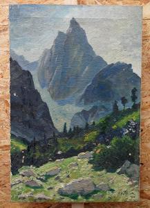 Obraz hory - olej na plátně - sig S Holeček