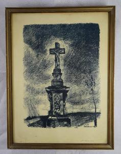 litografie - poutní kříž - signováno