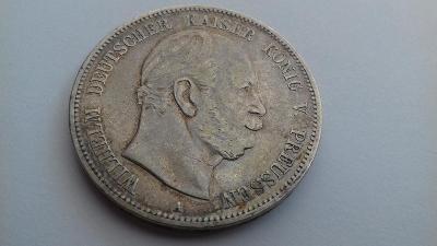 Stříbro Německo Prusko 5 Marka 1874 A Wilhelm I.