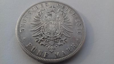 Stříbro Německo Prusko 5 Marka 1876 C Wilhelm I.