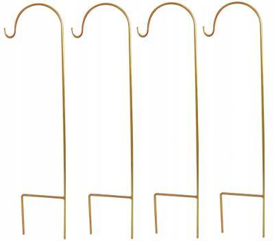 Zahradní pastýřské háčky Sada 4 pastýřských háčků 90cm z kovu ve zlatě