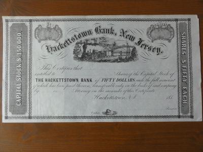 Akcie HACKETTSTOWN BANK, NEW JERSEY., . 1850 VZÁCNÁ